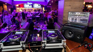 Black and Blue - DJ table and gear